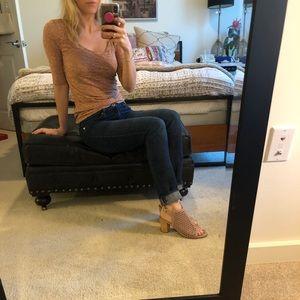 Anthropologie blush lace blouse xs